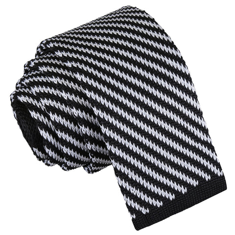 Diagonal Stripe Knitted Skinny Tie - Black & White