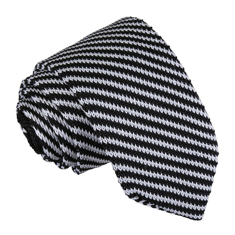 Diagonal Stripe Knitted Slim Tie - Black & White