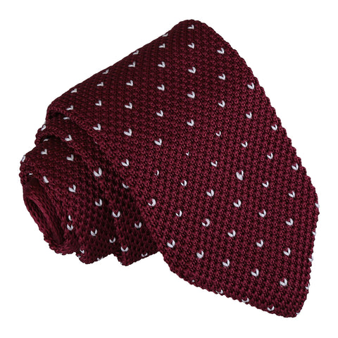 Flecked V Polka Dot Knitted Slim Tie - Burgundy