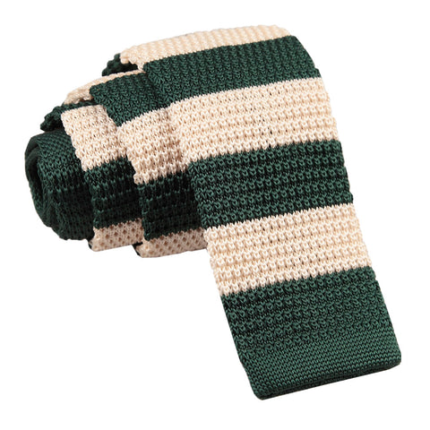Knitted Striped Skinny Tie - Green & Cream