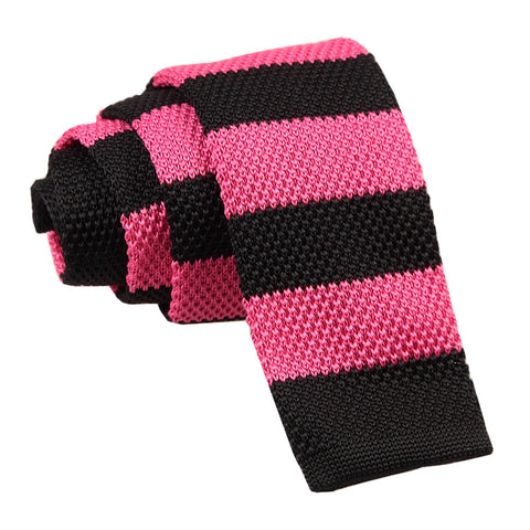Knitted Striped Skinny Tie - Hot Pink & Black