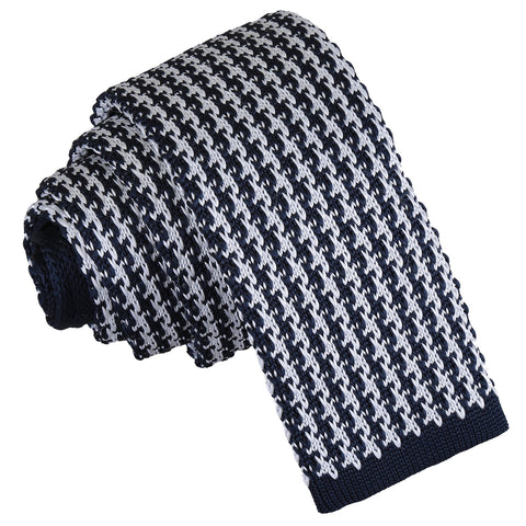 Houndstooth Knitted Skinny Tie - White & Navy