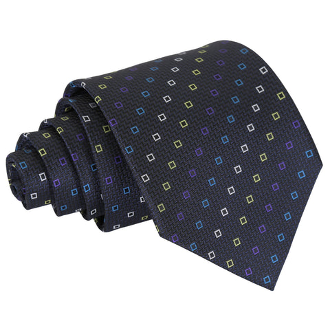 Mini Diamond Geometric Classic Tie - Black with Blue and Yellow