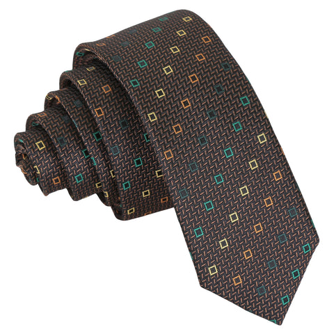 Mini Diamond Geometric Skinny Tie - Brown with Green and Gold