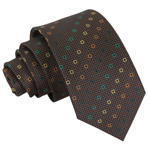 Mini Diamond Geometric Slim Tie - Brown with Green and Gold