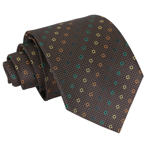 Mini Diamond Geometric Classic Tie - Brown with Green and Gold