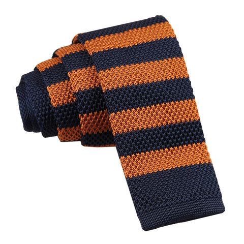 Knitted Striped Skinny Tie - Navy & Orange