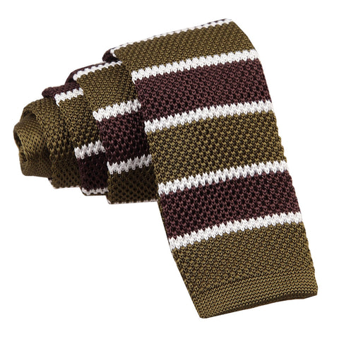 Knitted Stripe with 2 Borders Skinny Tie - Knitted Olive Green