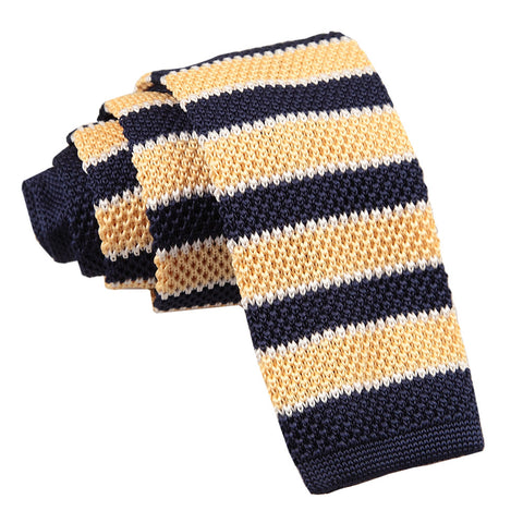 Knitted Stripe with 2 Borders Skinny Tie - Knitted Pale Yellow