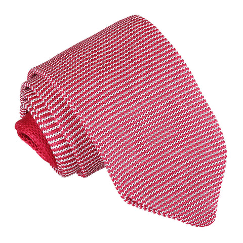 Pin Stripe Knitted Slim Tie - White & Red