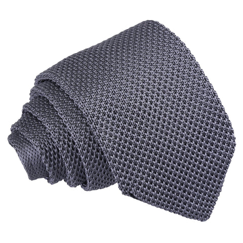 Plain Knitted Slim Tie - Charcoal