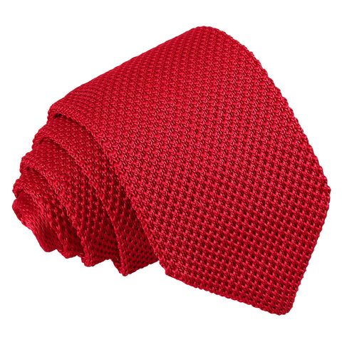Plain Knitted Slim Tie - Crimson Red