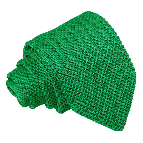 Plain Knitted Slim Tie - Forest Green