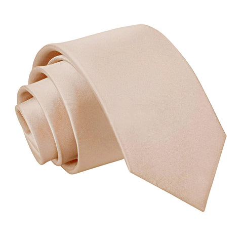 Plain Satin Slim Tie - Mocha Brown