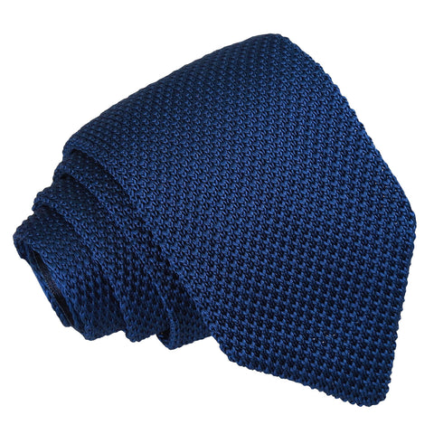 Plain Knitted Slim Tie - Navy Blue