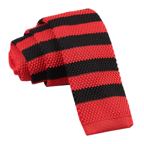 Knitted Striped Skinny Tie - Red & Black
