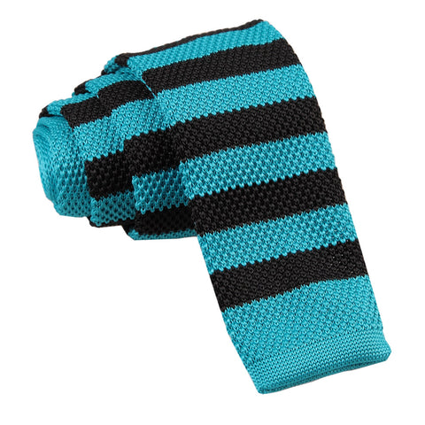 Knitted Striped Skinny Tie - Robin's Egg Blue & Black