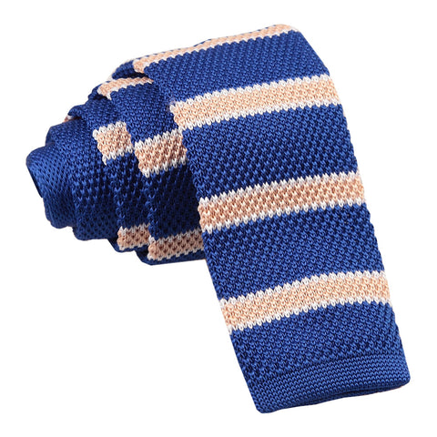 Knitted Stripe with 2 Borders Skinny Tie - Knitted Royal Blue