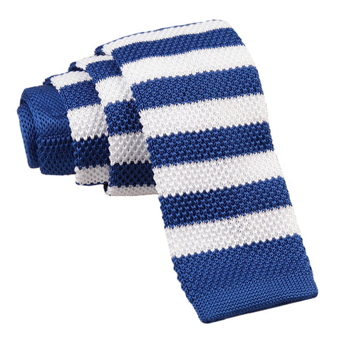 Knitted Striped Skinny Tie - Royal Blue & White