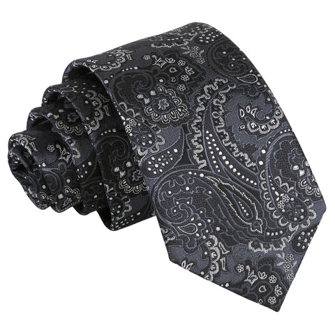 Royal Paisley Slim Tie - Black & Silver