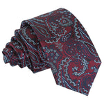 Royal Paisley Slim Tie - Burgundy & Navy