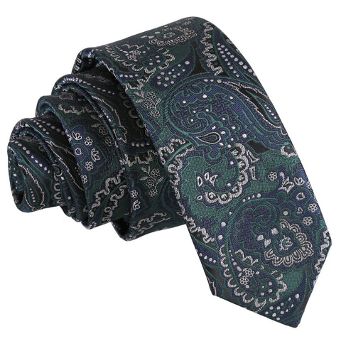 Royal Paisley Skinny Tie - Green & Navy