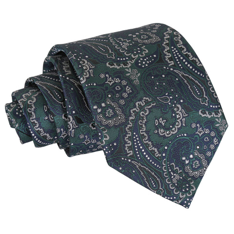 Royal Paisley Classic Tie - Green & Navy