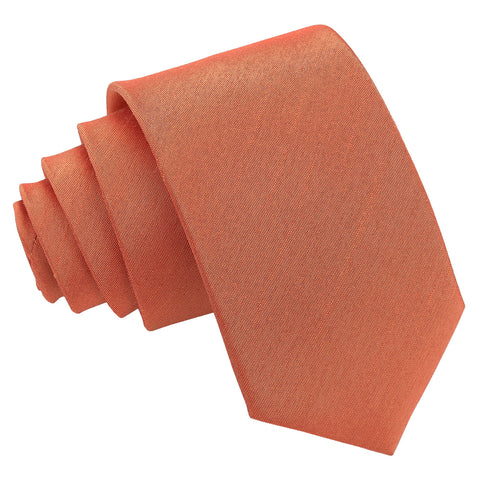 Plain Shantung Slim Tie - Copper