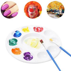10 Wells Mixing Palette Round Professional Strong & Light Plastic Paint Platte Tray White Art 17cm
