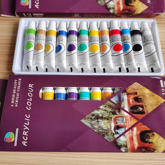 12 colors vibrant tube acrylic paint