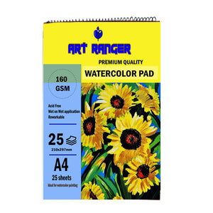 Premium Quality Art Ranger Watercolor Pad 25 sheets A4 160gsm for Watercolor Painting Art Hobbyist