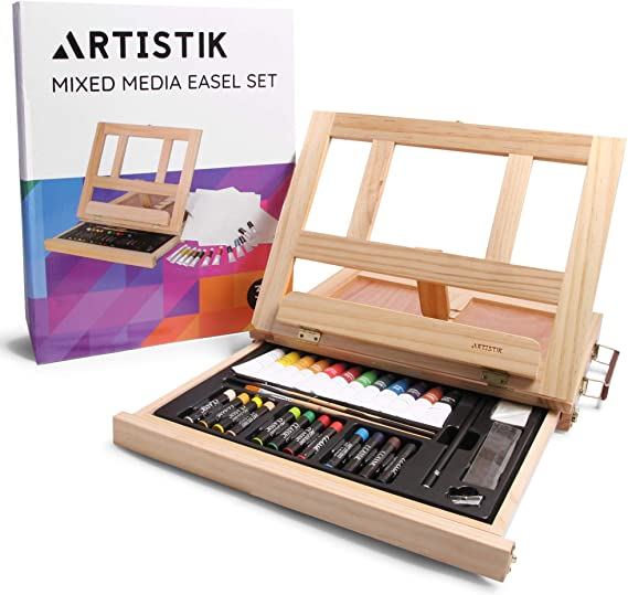 Mixed Media Art Set - Complete Easel Painting Kit with Wood Table Desk Top Easel Box Includes Acrylic Paints, 3 Canvas Boards, Pastels, Desktop Art Supplies Gift for Beginner Artists, Kids, Adults
