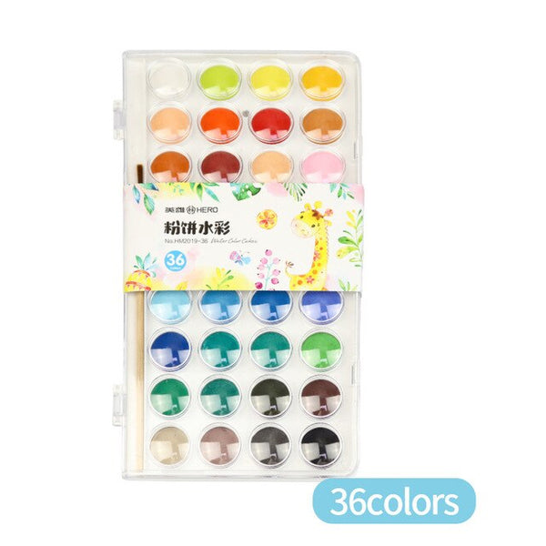 36 Colors Watercolor Cake with Free Brush - art supplies