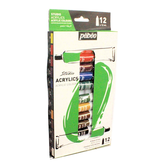 Pebeo Studio Acrylic Paint Set of 12 Colors HIGH QUALITY ARTIST  Grade Paint