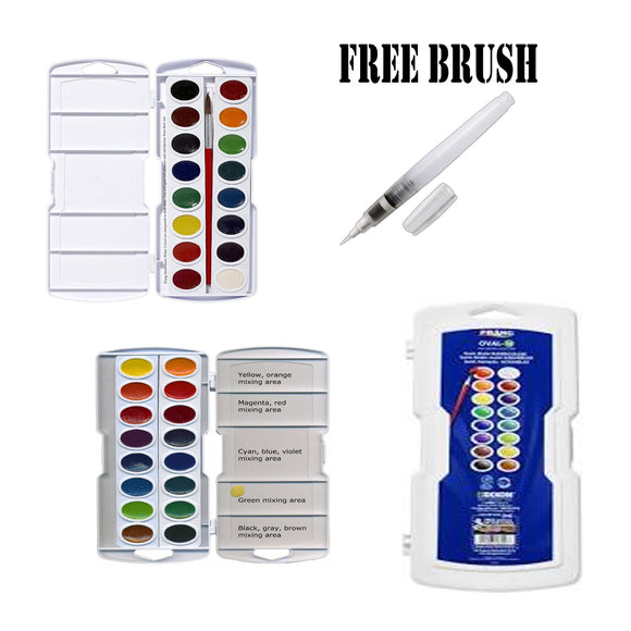16 Color Prang Watercolor with FREE BRUSH - art supplies