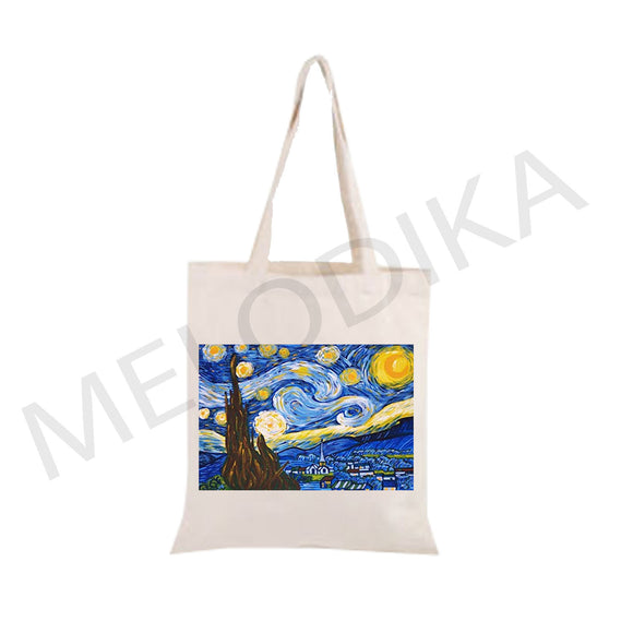 Canvas Tote Bag Starry Night by Van Gogh- artist bag collections