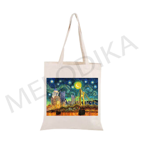 Canvas Tote Bag Starry Night Pittsburgh by Van Gogh- artist bag collections