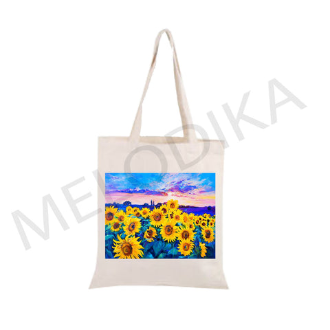 Canvas Tote Bag Sunflower Field- artist bag collections