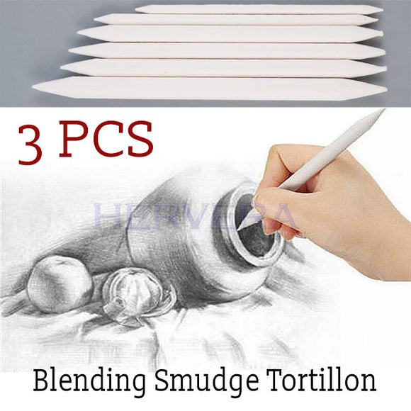 3PCs Blending Smudge Tortillon Stump Sketch 3 Sizes Art Drawing Tool Pastel