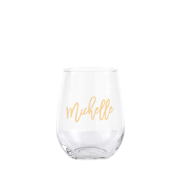personalised stemless glass