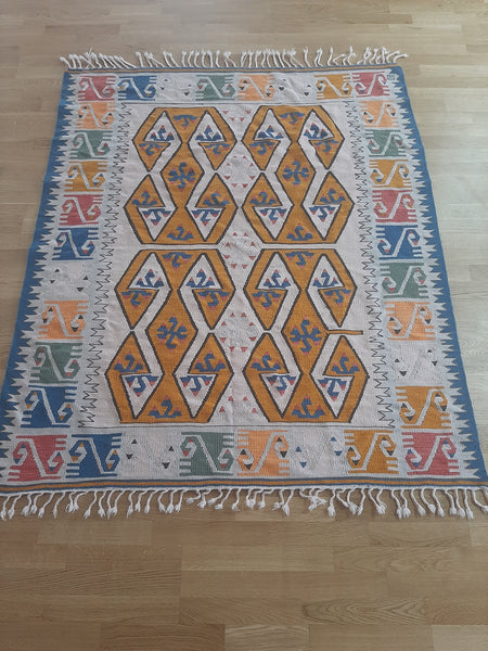 Turkish Kilim Rugs 150x180 cm. / 4.92 x 5.90 Ft. / 59 x 70.8 Inches