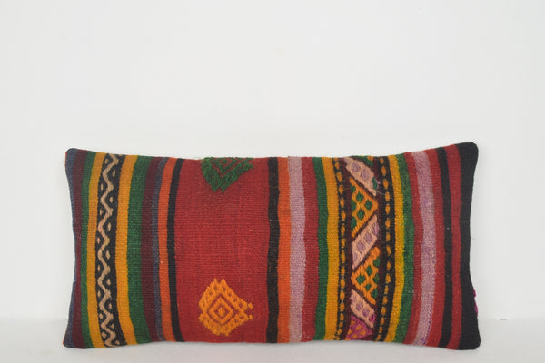 Kilim Linear Woven Rug Pillow F01207 Lumbar Hand Crafted Folkloric