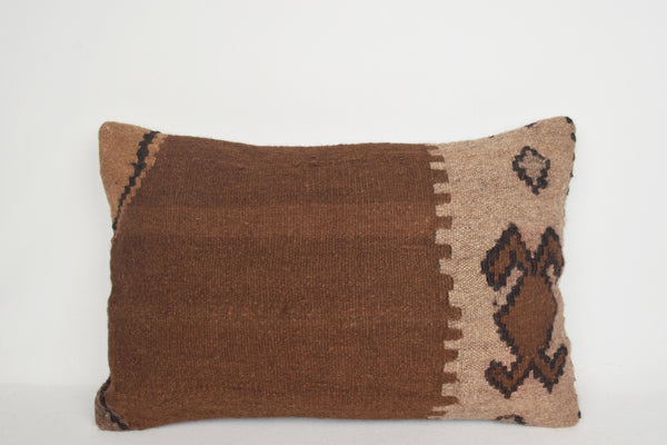 Brown Kilim Pillows Lumbar E00010 European Patio Cotton Indigo