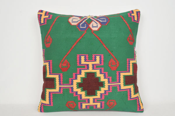 Green Kilim Pillows 24x24 A00018 Mid century Needlepoint Art Novelty