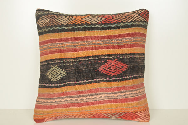 Kilim Cushion Covers NZ C01620 18x18 Technical Hand Crafted Personal
