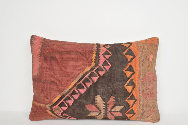 Orange Kilim Lumbar Pillow E00124 Best Woollen Hippie Needlework