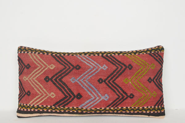 Kilim Rug Covered Ottoman Pillow F01226 Lumbar Knotted Hellenistic