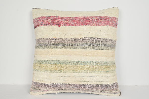 Kilim Tapestry Pillow A00729 24x24 Handknit Bright Strong Eclectic