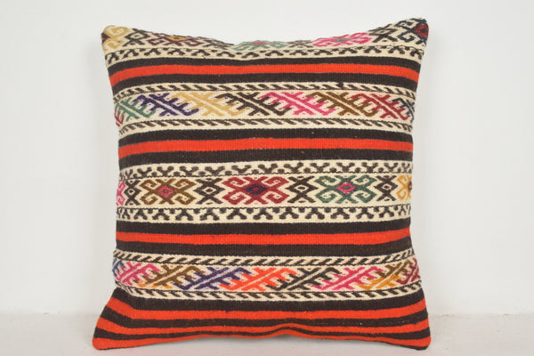 Kilim Floor Pillow Black and White A00633 24x24 Rare Wall Covering