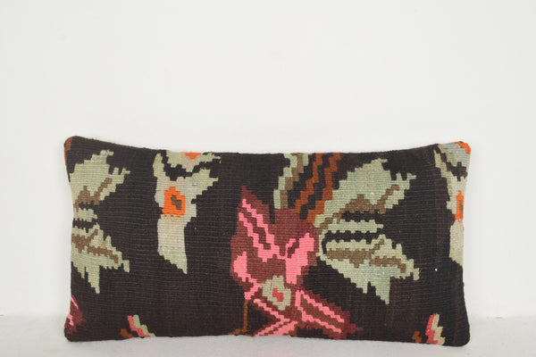 Kilim Rug Black and White Pillow F00538 Lumbar Home Casual Crochet
